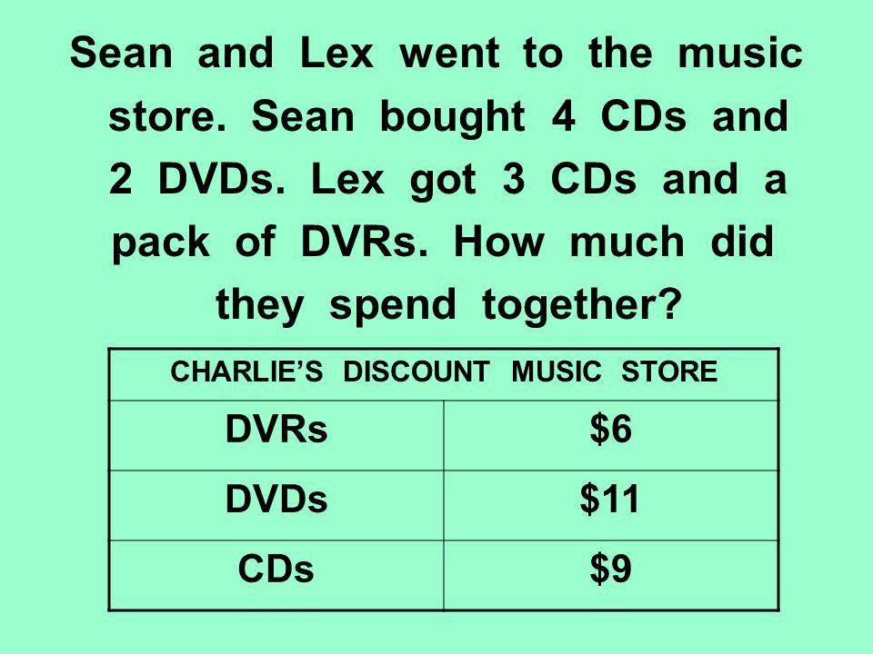 Sean and Lex went to the music store. Sean bought 4 CDs and 2 DVDs. Lex got 3 CDs and a pack of DVRs. How much did they spend together? CHARLIES DISCO