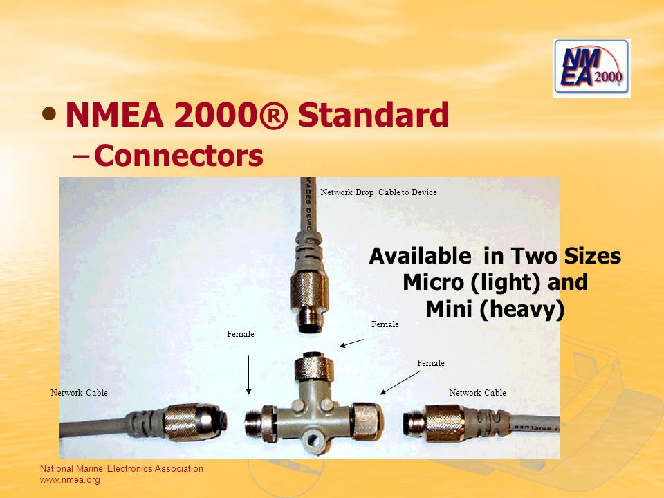 National Marine Electronics Association www.nmea.org NMEA 2000® Standard –Connectors Female Network Drop Cable to Device Network Cable Female Available in Two Sizes Micro (light) and Mini (heavy)