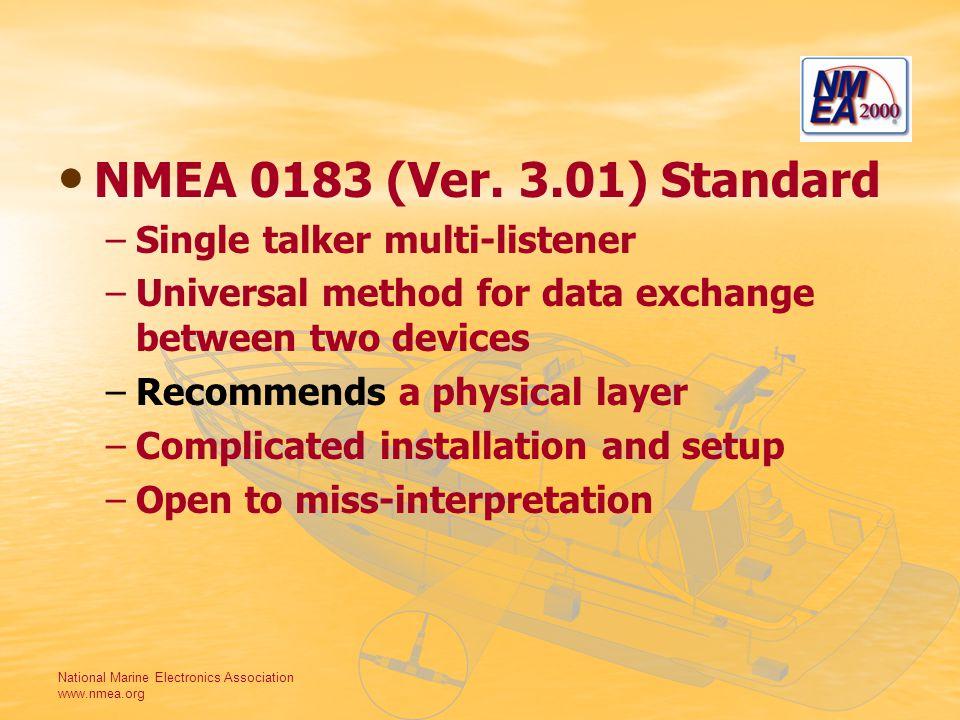 National Marine Electronics Association www.nmea.org NMEA 0183 (Ver. 3.01) Standard – –Single talker multi-listener – –Universal method for data excha