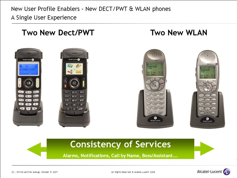 All Rights Reserved © Alcatel-Lucent 2006 22 | Online seminar Alesug: October 9, 2007 Two New Dect/PWT New User Profile Enablers – New DECT/PWT & WLAN phones A Single User Experience Two New WLAN Consistency of Services Alarms, Notifications, Call by Name, Boss/Assistant….