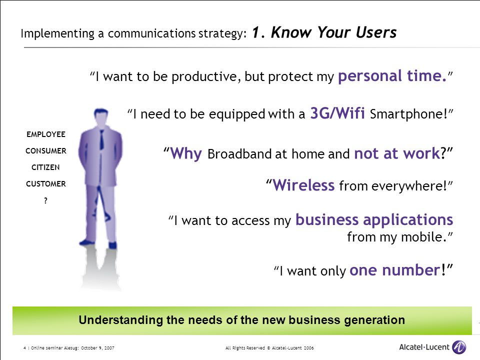All Rights Reserved © Alcatel-Lucent 2006 4 | Online seminar Alesug: October 9, 2007 Implementing a communications strategy: 1. Know Your Users I want