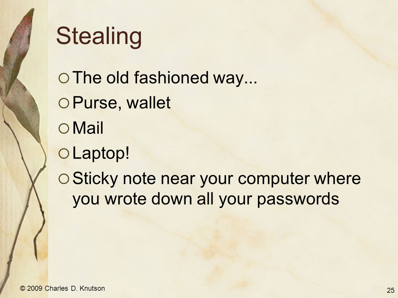 © 2009 Charles D. Knutson Stealing The old fashioned way... Purse, wallet Mail Laptop! Sticky note near your computer where you wrote down all your pa