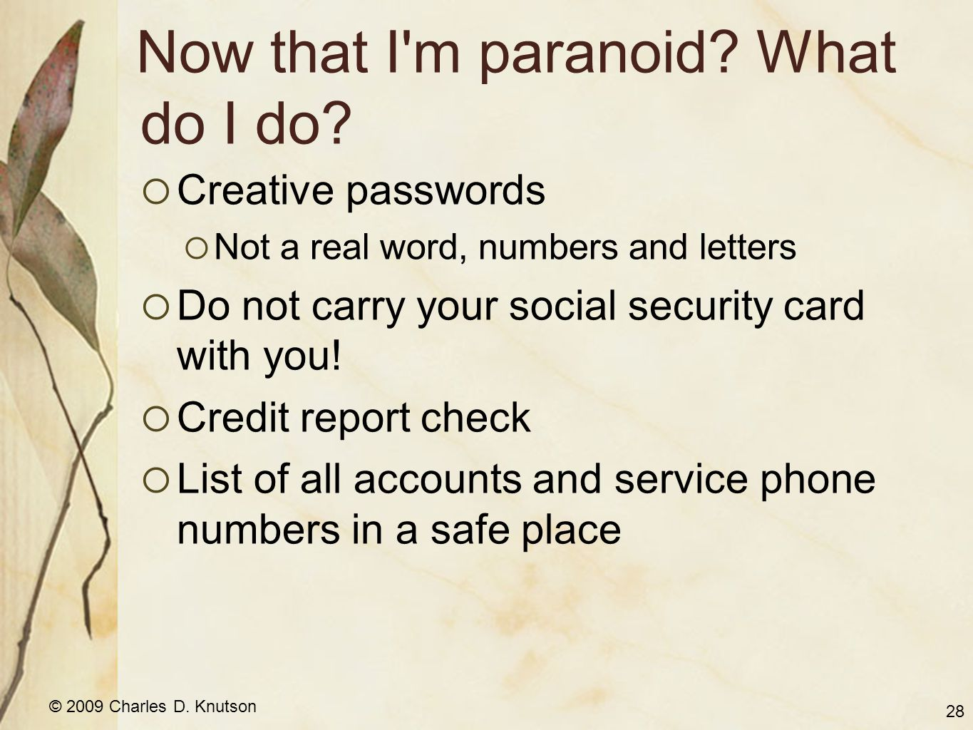 © 2009 Charles D. Knutson Now that I'm paranoid? What do I do? Creative passwords Not a real word, numbers and letters Do not carry your social securi