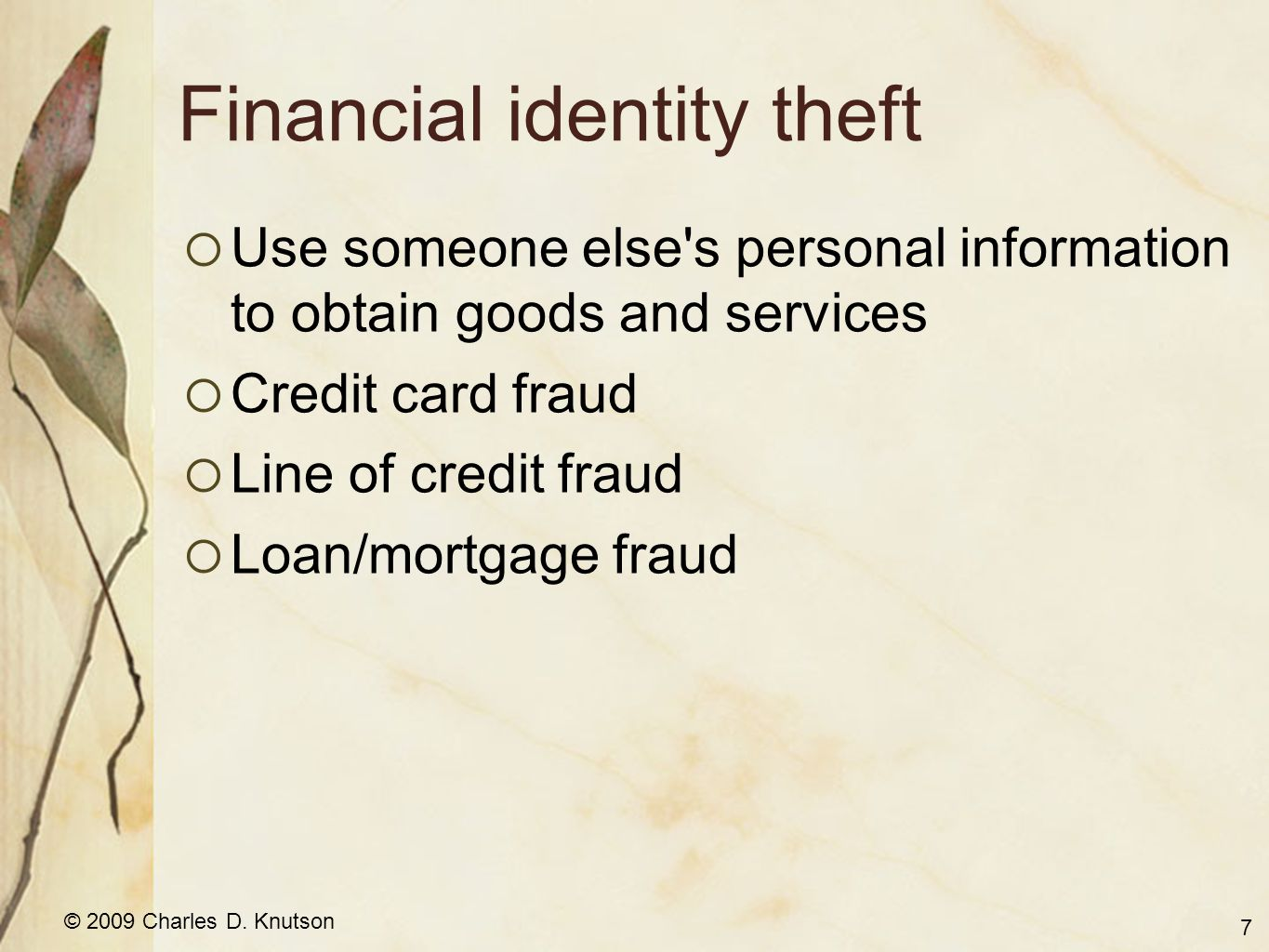 © 2009 Charles D. Knutson Financial identity theft Use someone else's personal information to obtain goods and services Credit card fraud Line of cred