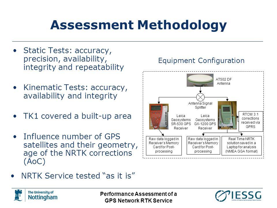 Performance Assessment of a GPS Network RTK Service Assessment Methodology AT502 DF Antenna Antenna Signal Splitter Leica Geosystems SR-530 GPS Receiv