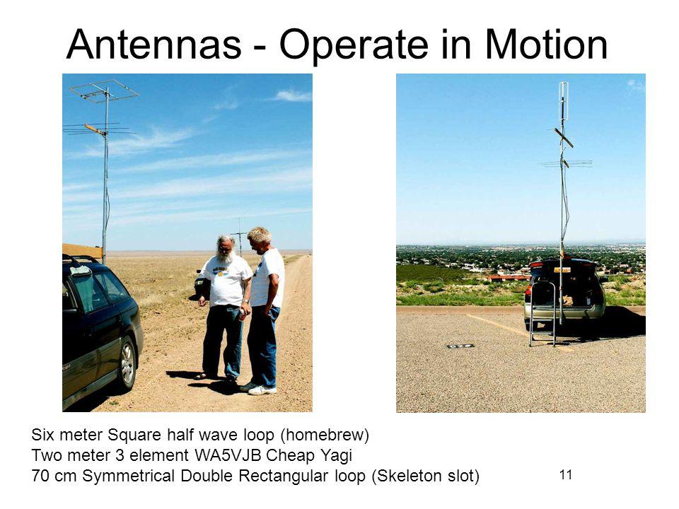 11 Antennas - Operate in Motion Six meter Square half wave loop (homebrew) Two meter 3 element WA5VJB Cheap Yagi 70 cm Symmetrical Double Rectangular loop (Skeleton slot)