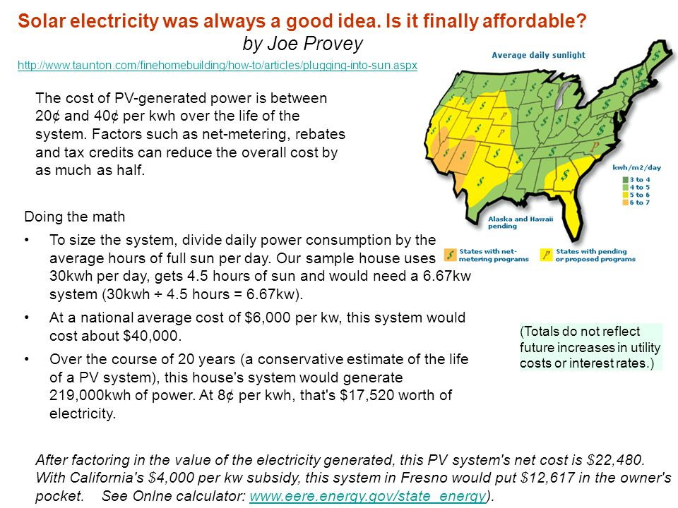 The cost of PV-generated power is between 20¢ and 40¢ per kwh over the life of the system.