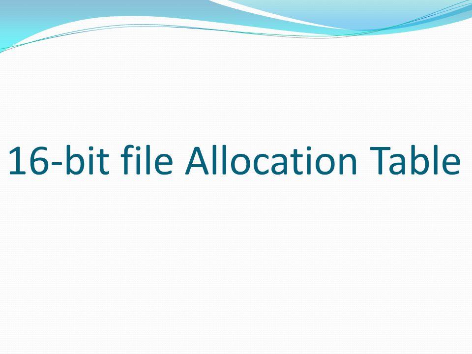 16-bit file Allocation Table