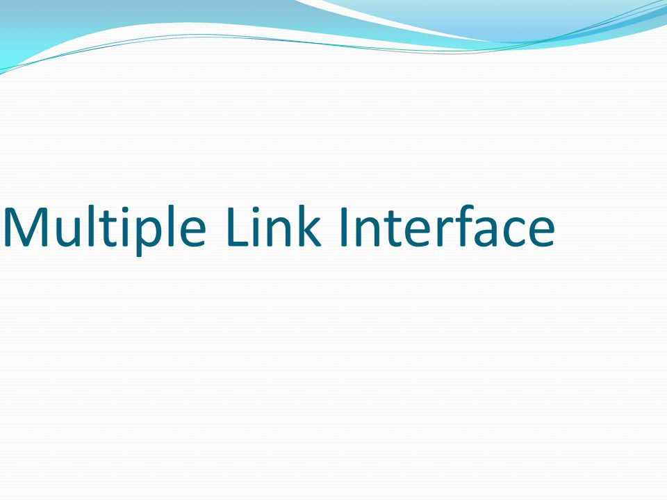 Multiple Link Interface