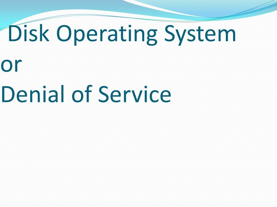 Disk Operating System or Denial of Service