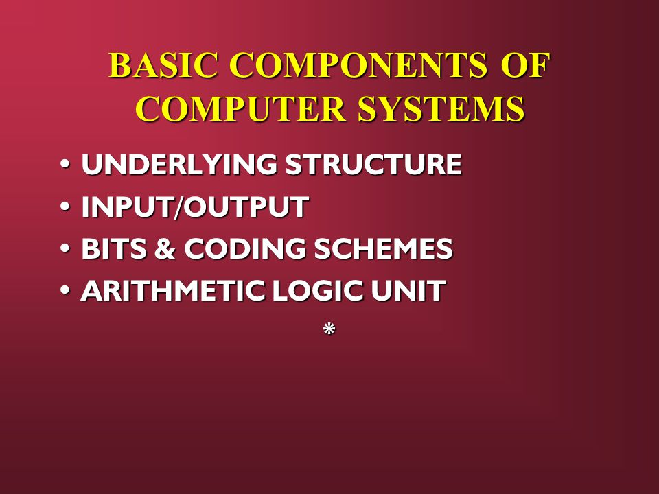 BASIC COMPONENTS OF COMPUTER SYSTEMS UNDERLYING STRUCTURE UNDERLYING STRUCTURE INPUT/OUTPUT INPUT/OUTPUT BITS & CODING SCHEMES BITS & CODING SCHEMES ARITHMETIC LOGIC UNIT ARITHMETIC LOGIC UNIT*