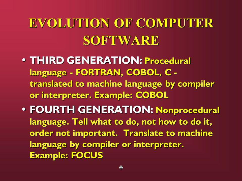 THIRD GENERATION: Procedural language - FORTRAN, COBOL, C - translated to machine language by compiler or interpreter. Example: COBOL THIRD GENERATION