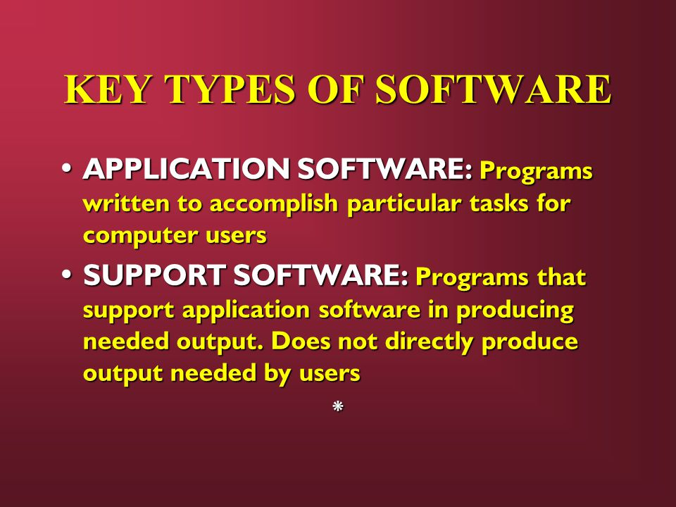 KEY TYPES OF SOFTWARE APPLICATION SOFTWARE: Programs written to accomplish particular tasks for computer users APPLICATION SOFTWARE: Programs written to accomplish particular tasks for computer users SUPPORT SOFTWARE: Programs that support application software in producing needed output.