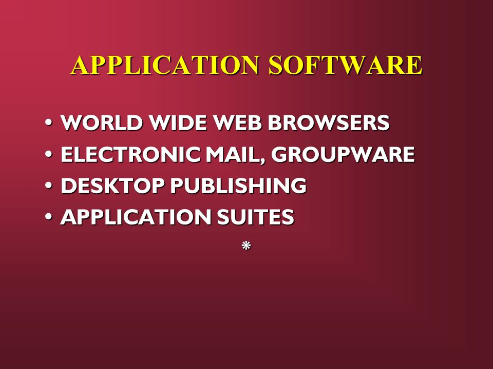 APPLICATION SOFTWARE WORLD WIDE WEB BROWSERS WORLD WIDE WEB BROWSERS ELECTRONIC MAIL, GROUPWARE ELECTRONIC MAIL, GROUPWARE DESKTOP PUBLISHING DESKTOP PUBLISHING APPLICATION SUITES APPLICATION SUITES*