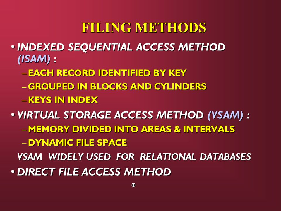 FILING METHODS INDEXED SEQUENTIAL ACCESS METHOD (ISAM) : INDEXED SEQUENTIAL ACCESS METHOD (ISAM) : – EACH RECORD IDENTIFIED BY KEY – GROUPED IN BLOCKS AND CYLINDERS – KEYS IN INDEX VIRTUAL STORAGE ACCESS METHOD (VSAM) : VIRTUAL STORAGE ACCESS METHOD (VSAM) : – MEMORY DIVIDED INTO AREAS & INTERVALS – DYNAMIC FILE SPACE VSAM WIDELY USED FOR RELATIONAL DATABASES VSAM WIDELY USED FOR RELATIONAL DATABASES DIRECT FILE ACCESS METHOD DIRECT FILE ACCESS METHOD*