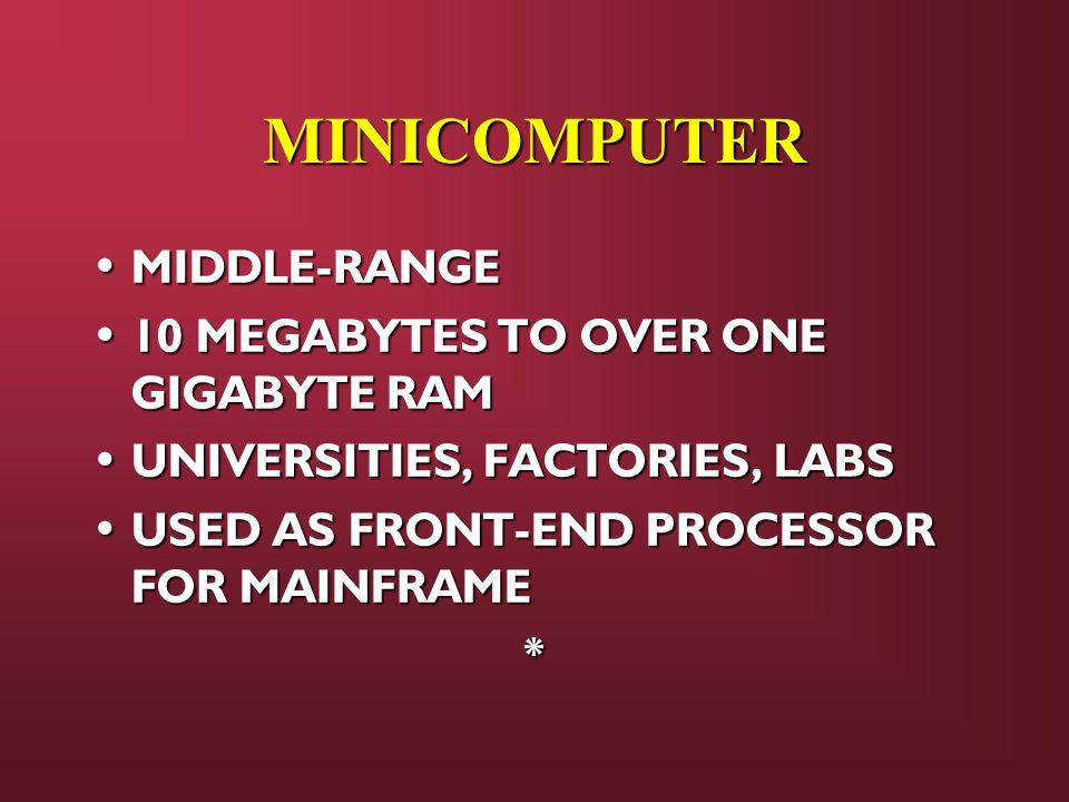 MINICOMPUTER MIDDLE-RANGE MIDDLE-RANGE 10 MEGABYTES TO OVER ONE GIGABYTE RAM 10 MEGABYTES TO OVER ONE GIGABYTE RAM UNIVERSITIES, FACTORIES, LABS UNIVE