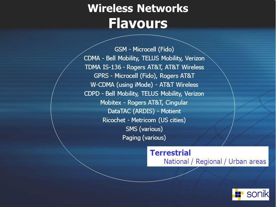 Wireless Networks Flavours Terrestrial National / Regional / Urban areas GSM - Microcell (Fido) CDMA - Bell Mobility, TELUS Mobility, Verizon TDMA IS-