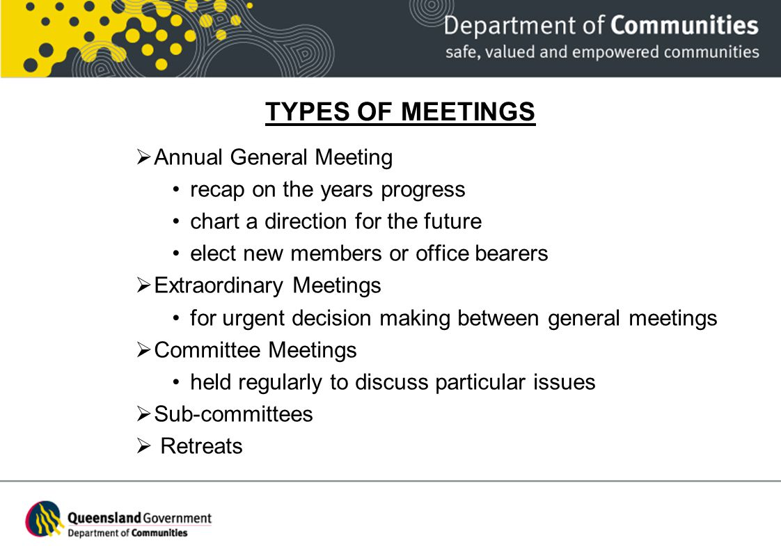 TYPES OF MEETINGS Annual General Meeting recap on the years progress chart a direction for the future elect new members or office bearers Extraordinar