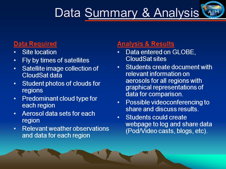 Data Summary & Analysis Data Required Site location Fly by times of satellites Satellite image collection of CloudSat data Student photos of clouds for regions Predominant cloud type for each region Aerosol data sets for each region Relevant weather observations and data for each region Analysis & Results Data entered on GLOBE, CloudSat sites Students create document with relevant information on aerosols for all regions with graphical representations of data for comparison.