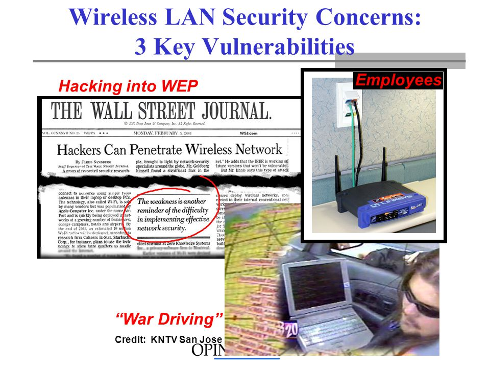 Hacking into WEP Wireless LAN Security Concerns: 3 Key Vulnerabilities Credit: KNTV San Jose War Driving Employees