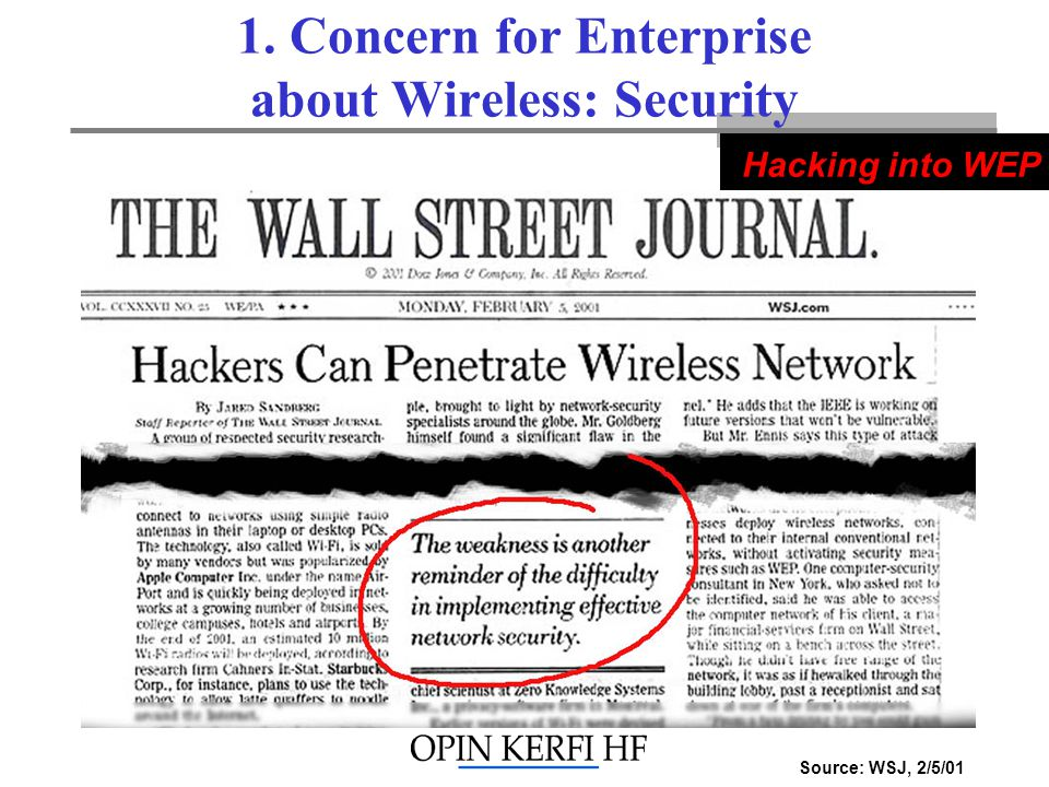 1. Concern for Enterprise about Wireless: Security Source: WSJ, 2/5/01 Hacking into WEP