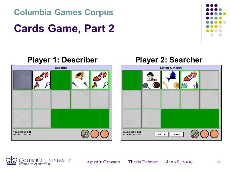 Agustín Gravano - Thesis Defense - Jan 28, 200910 Cards Game, Part 1 Columbia Games Corpus Player 1: DescriberPlayer 2: Searcher