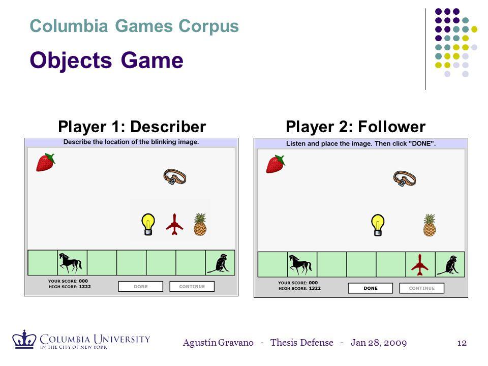 Agustín Gravano - Thesis Defense - Jan 28, 200911 Cards Game, Part 2 Player 1: DescriberPlayer 2: Searcher Columbia Games Corpus
