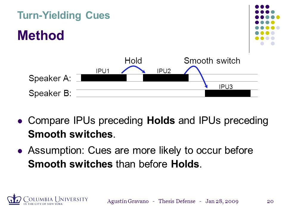 Agustín Gravano - Thesis Defense - Jan 28, 200919 Method Smooth switch: Speaker A finishes her utterance; speaker B takes the turn with no overlapping