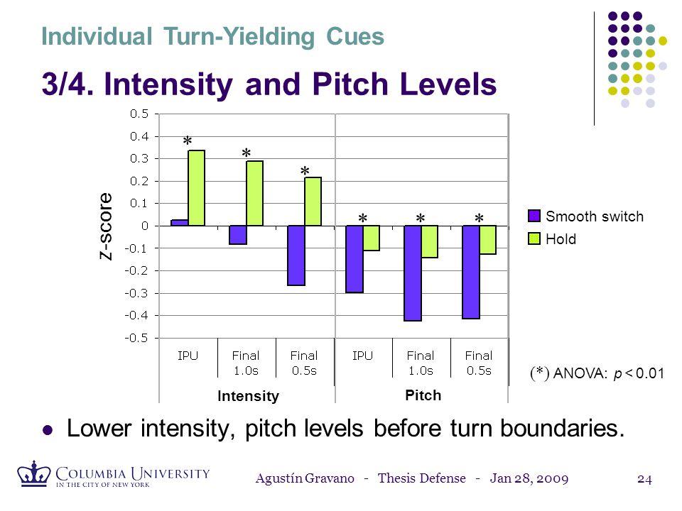Agustín Gravano - Thesis Defense - Jan 28, 200923 Individual Turn-Yielding Cues 2. Speaking Rate Reduced final lengthening before turn boundaries. * *