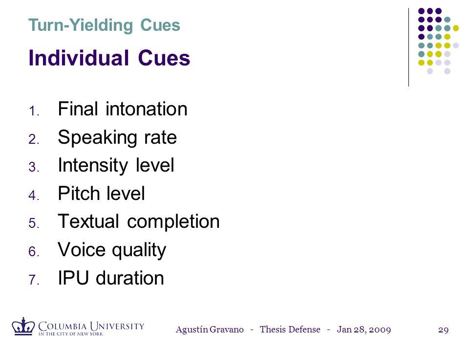 Agustín Gravano - Thesis Defense - Jan 28, 200928 7. IPU Duration Individual Turn-Yielding Cues Longer IPUs before turn boundaries. * * (*) ANOVA: p <