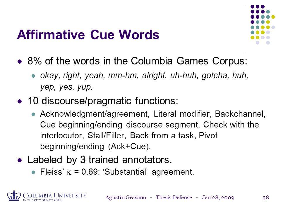 Agustín Gravano - Thesis Defense - Jan 28, 200937 (1) Columbia Games Corpus (2) Study of Turn-Taking (3) Study of Affirmative Cue Words