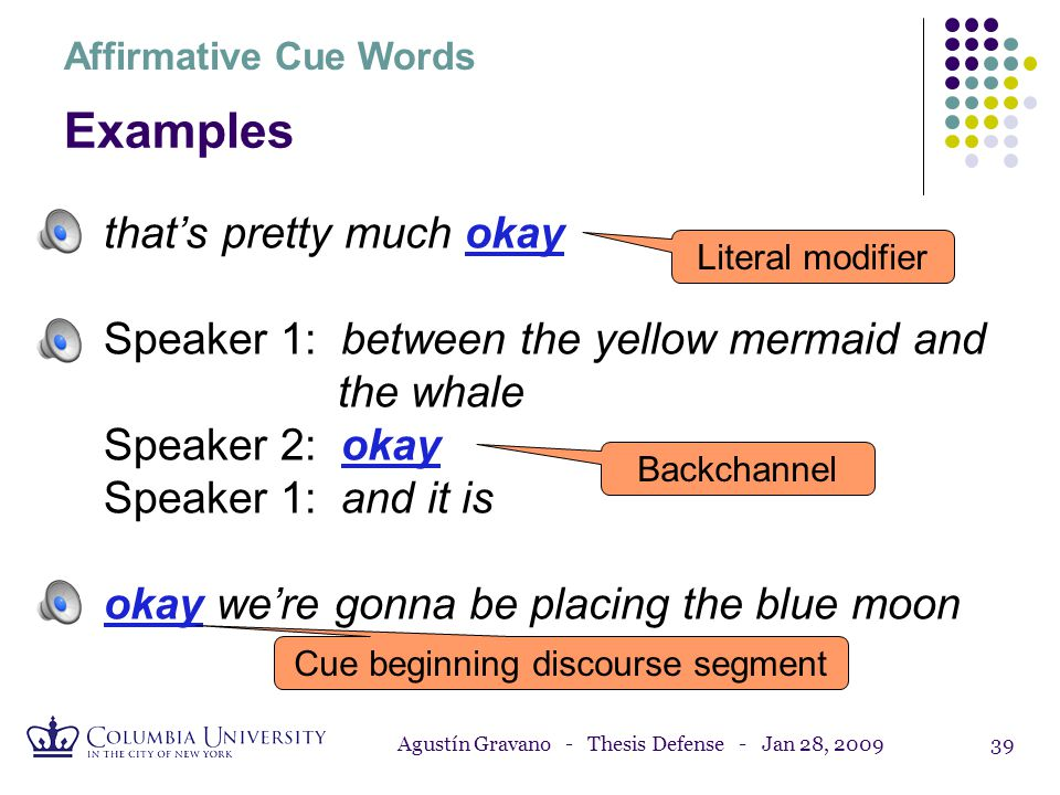 Agustín Gravano - Thesis Defense - Jan 28, 200938 Affirmative Cue Words 8% of the words in the Columbia Games Corpus: okay, right, yeah, mm-hm, alrigh