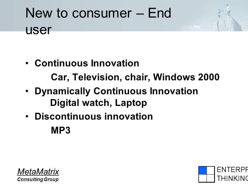 ENTERPRISE THINKING MetaMatrix Consulting Group New to consumer – End user Continuous Innovation Car, Television, chair, Windows 2000 Dynamically Cont