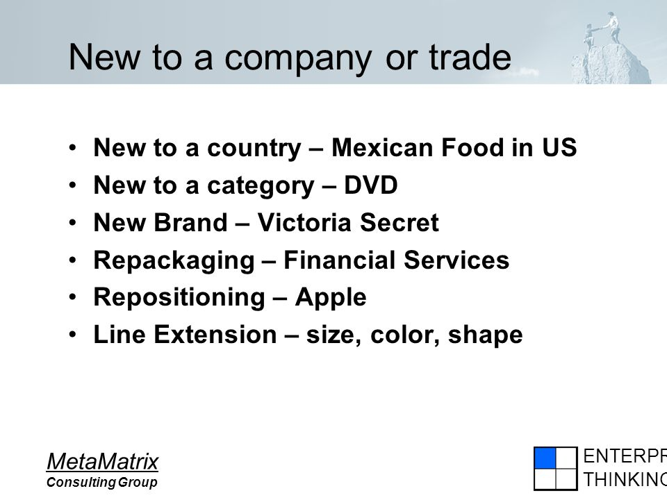 ENTERPRISE THINKING MetaMatrix Consulting Group New to a company or trade New to a country – Mexican Food in US New to a category – DVD New Brand – Vi
