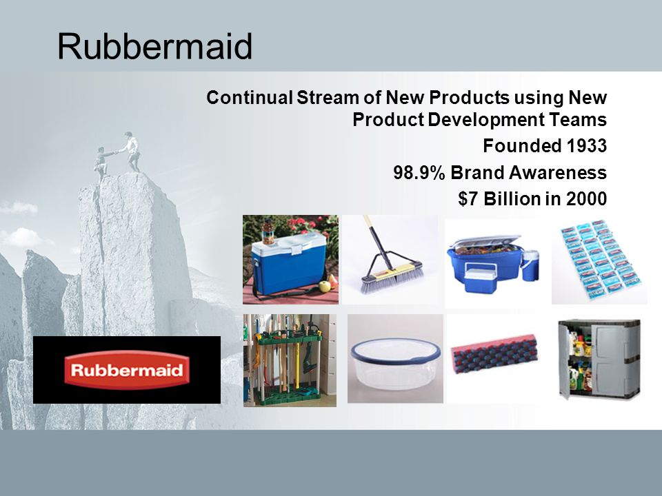 Rubbermaid Continual Stream of New Products using New Product Development Teams Founded 1933 98.9% Brand Awareness $7 Billion in 2000