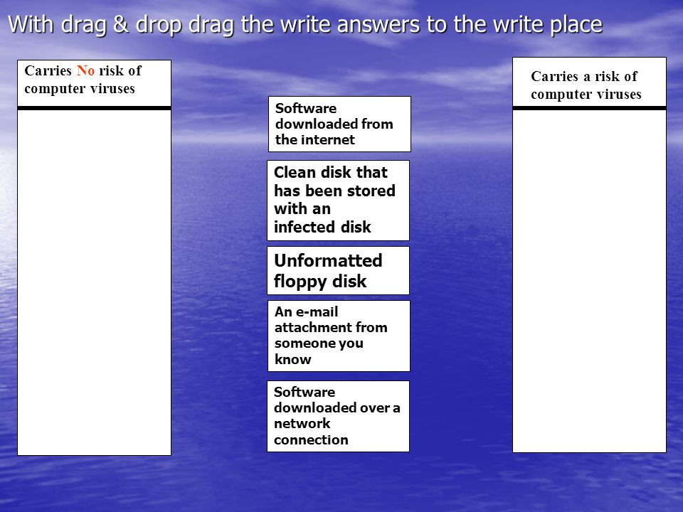 With drag & drop drag the write answers to the write place Carries a risk of computer viruses Carries No risk of computer viruses Clean disk that has been stored with an infected disk Software downloaded from the internet Unformatted floppy disk An e-mail attachment from someone you know Software downloaded over a network connection