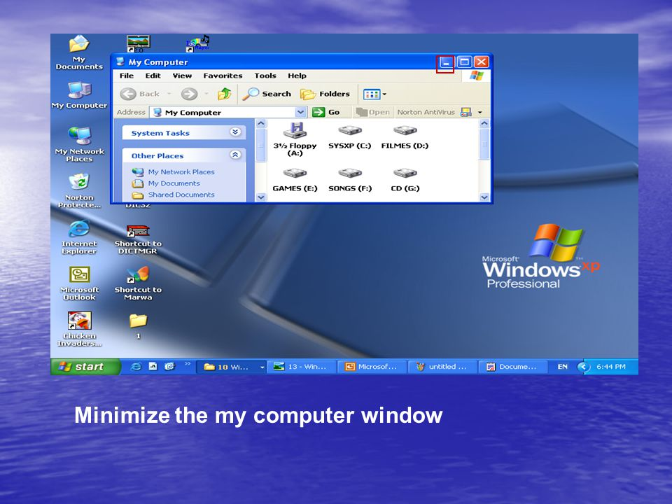 Minimize the my computer window