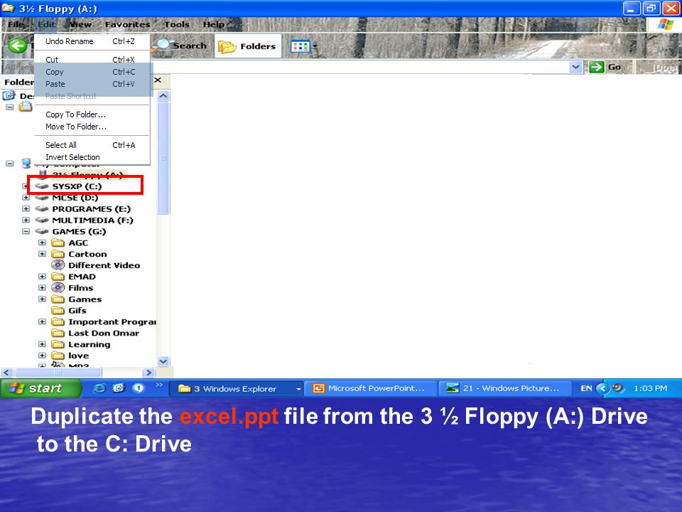Duplicate the excel.ppt file from the 3 ½ Floppy (A:) Drive to the C: Drive
