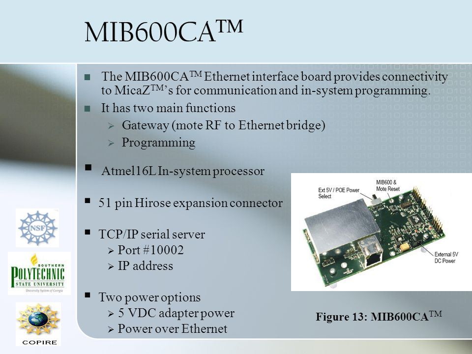 MIB600CA TM The MIB600CA TM Ethernet interface board provides connectivity to MicaZ TM s for communication and in-system programming. It has two main