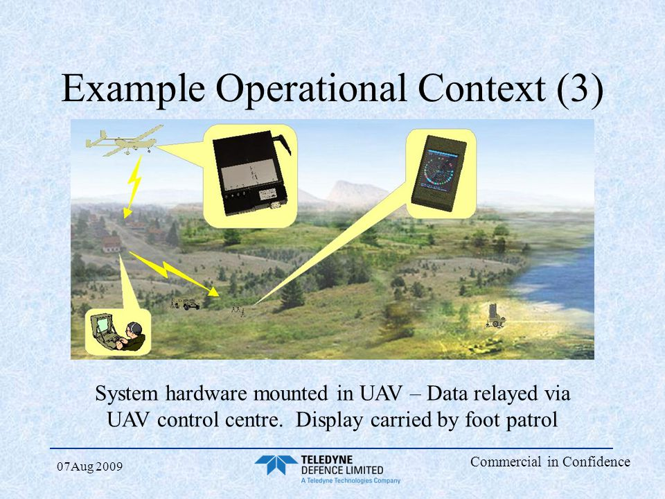 Commercial in Confidence 07Aug 2009 Example Operational Context (3) System hardware mounted in UAV – Data relayed via UAV control centre. Display carr