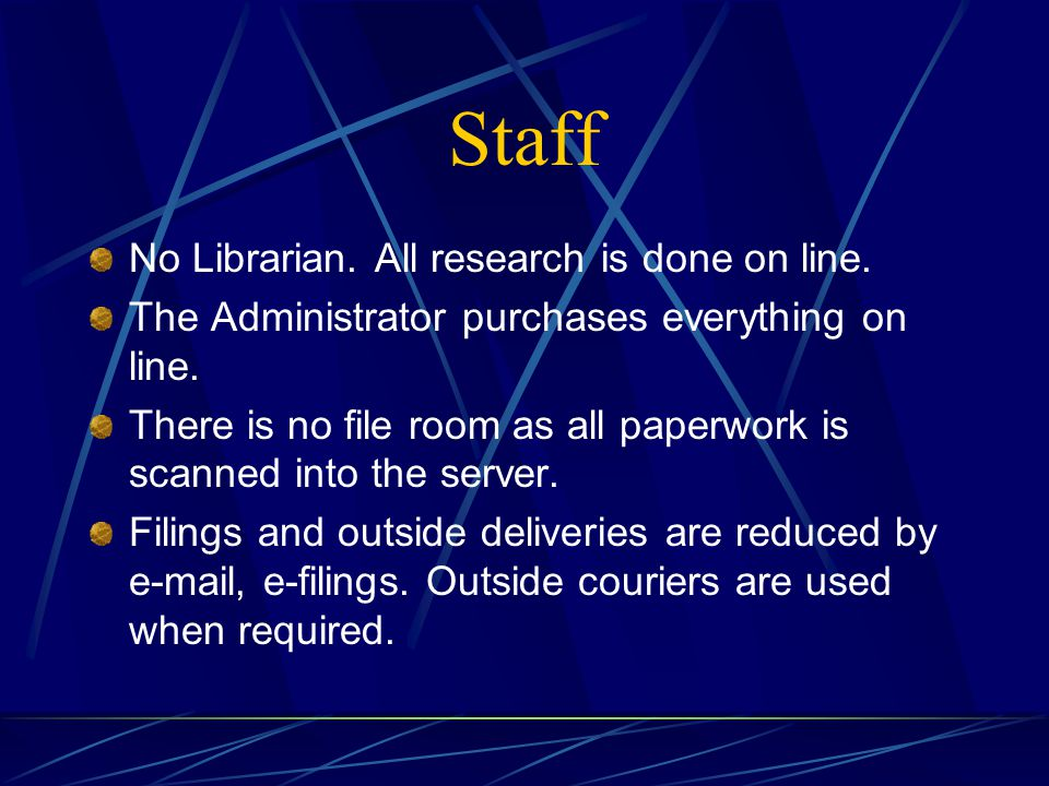 Staff No Librarian. All research is done on line.