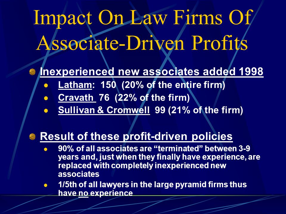Impact On Law Firms Of Associate-Driven Profits Inexperienced new associates added 1998 Latham: 150 (20% of the entire firm) Cravath 76 (22% of the firm) Sullivan & Cromwell 99 (21% of the firm) Result of these profit-driven policies 90% of all associates are terminated between 3-9 years and, just when they finally have experience, are replaced with completely inexperienced new associates 1/5th of all lawyers in the large pyramid firms thus have no experience
