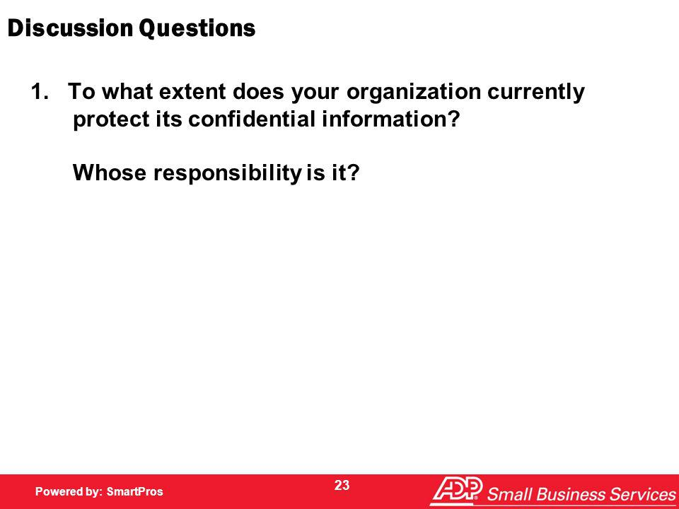 Powered by SmartPros Powered by: SmartPros Discussion Questions 1.