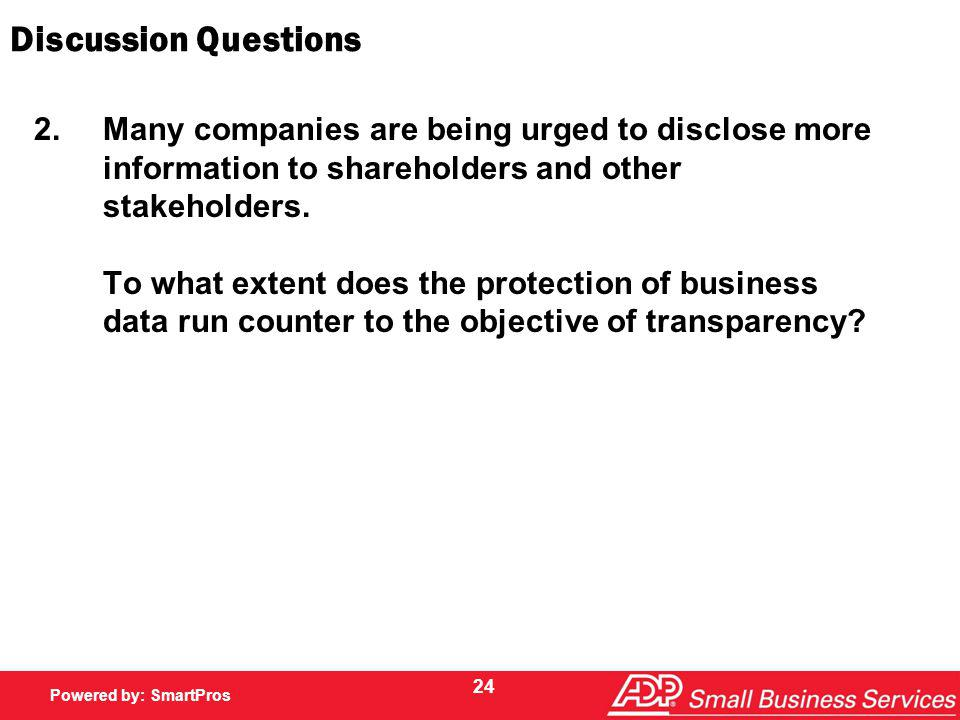 Powered by SmartPros Powered by: SmartPros Discussion Questions 2.