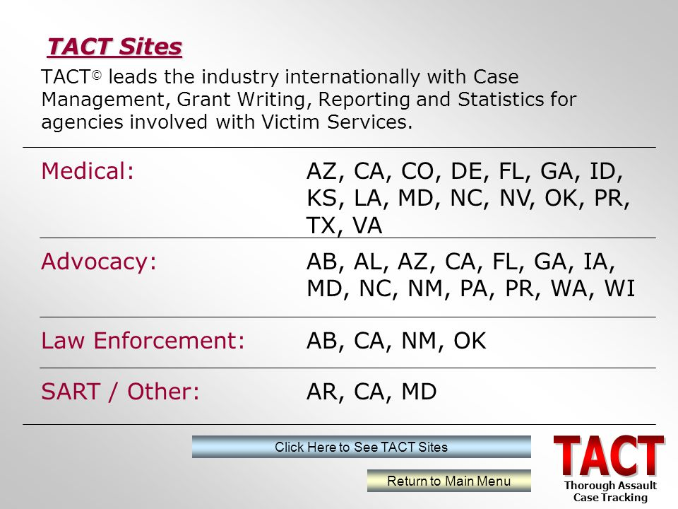 TACT © leads the industry internationally with Case Management, Grant Writing, Reporting and Statistics for agencies involved with Victim Services.