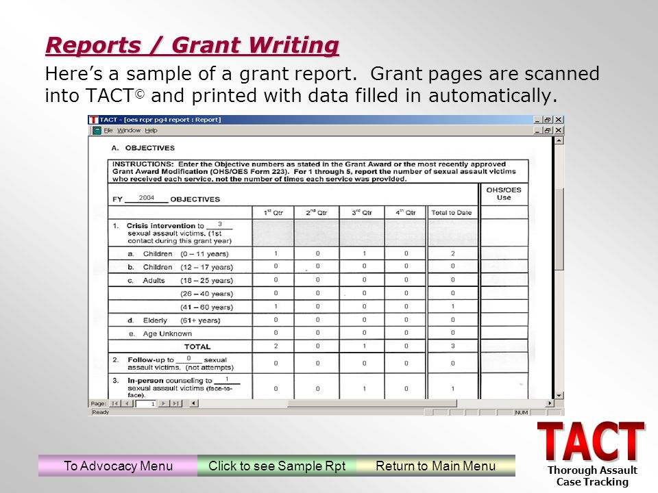 Heres a sample of a grant report.