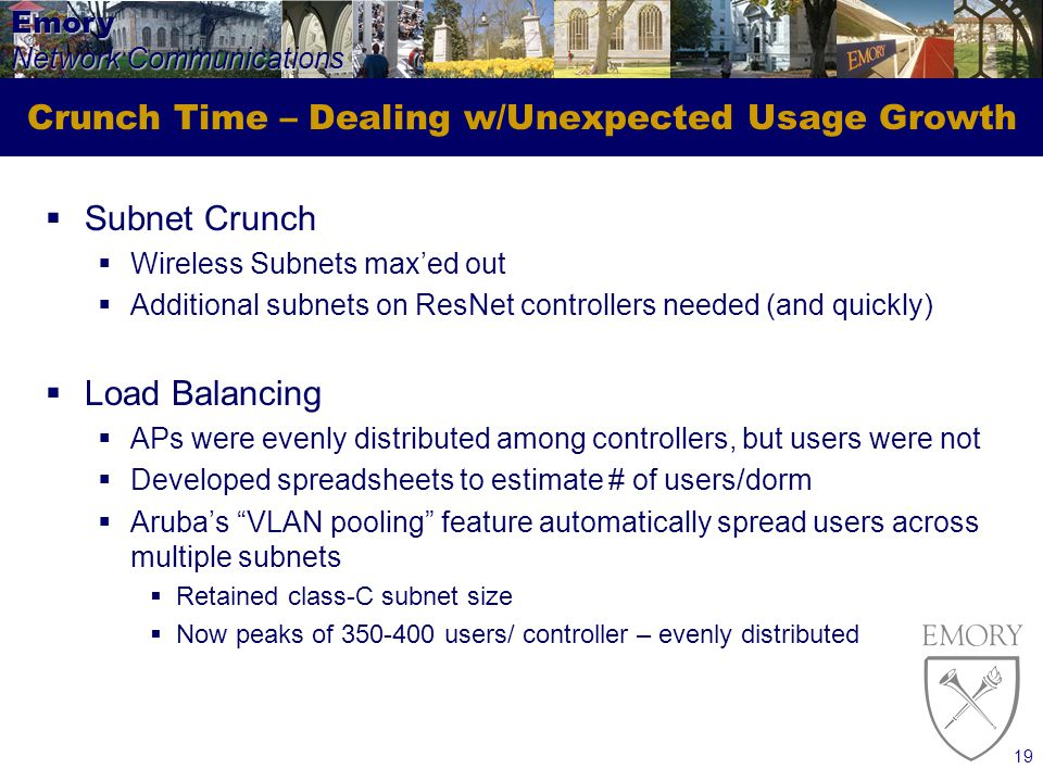 Emory Network Communications 19 Crunch Time – Dealing w/Unexpected Usage Growth Subnet Crunch Wireless Subnets maxed out Additional subnets on ResNet controllers needed (and quickly) Load Balancing APs were evenly distributed among controllers, but users were not Developed spreadsheets to estimate # of users/dorm Arubas VLAN pooling feature automatically spread users across multiple subnets Retained class-C subnet size Now peaks of 350-400 users/ controller – evenly distributed