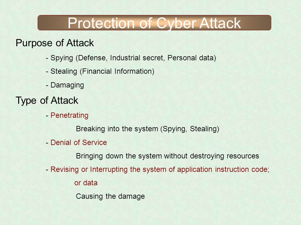 Protection of Cyber Attack Purpose of Attack - Spying (Defense, Industrial secret, Personal data) - Stealing (Financial Information) - Damaging Type o