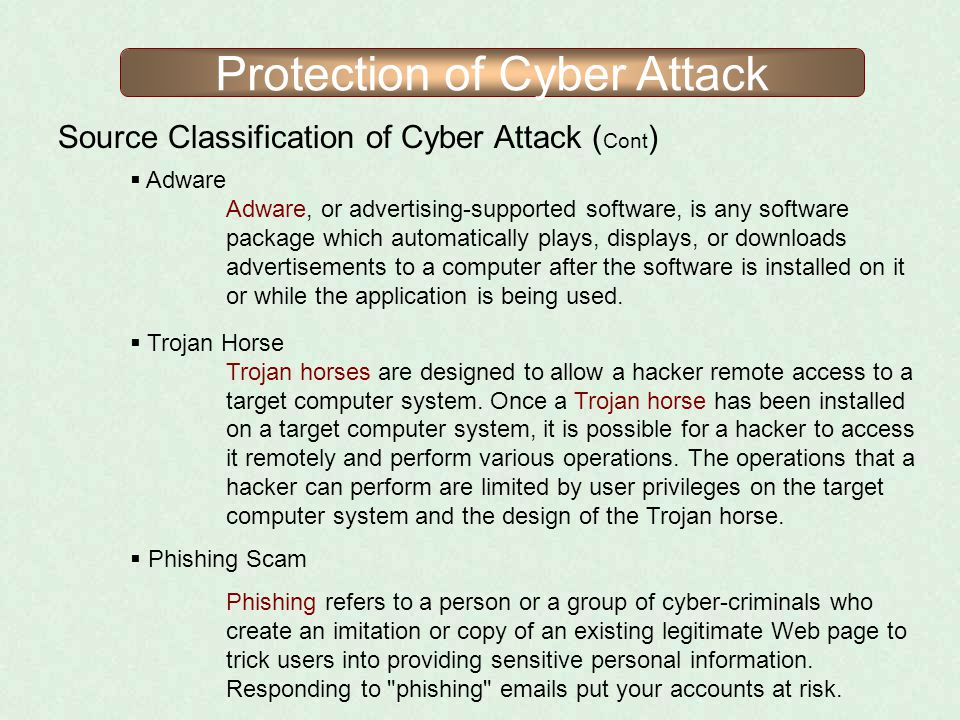 Protection of Cyber Attack Source Classification of Cyber Attack ( Cont ) Adware Adware, or advertising-supported software, is any software package wh
