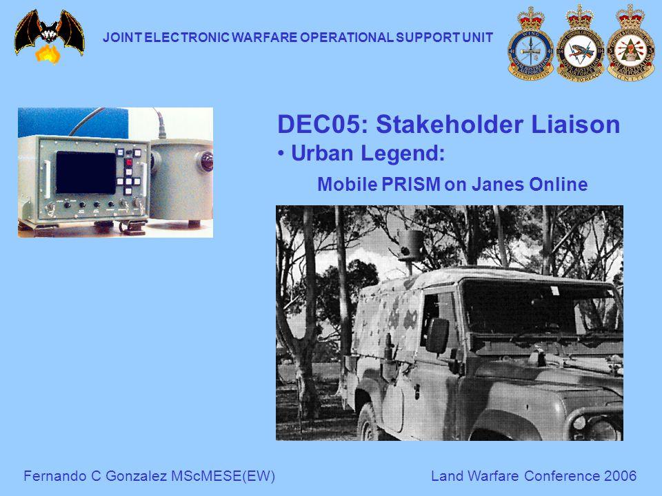 Fernando C Gonzalez MScMESE(EW)Land Warfare Conference 2006 JOINT ELECTRONIC WARFARE OPERATIONAL SUPPORT UNIT DEC05: Stakeholder Liaison Urban Legend: